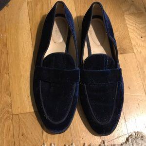 Franco Sarto navy blue suede loafers
